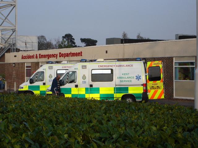 Ambulances outside Accident & Emergency Department