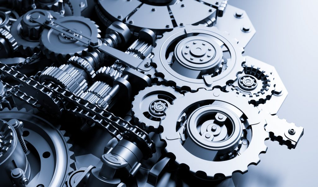Gears and cogs mechanism. Industrial machine, engine